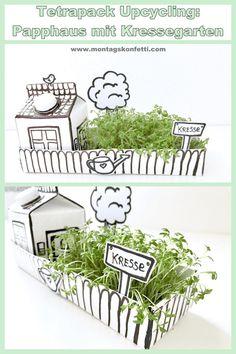 Tetrapack upcycling: cardboard house with cress garden - Montagskonfetti - DIY Ideen - Diy Garden Projects, Garden Crafts, Projects For Kids, Garden Art, Diy For Kids, Garden Design, Crafts For Kids, Garden Ideas, Rocks Garden