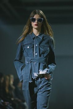 Belted denim jacket at 3.1 Phillip Lim AW15 NYFW. See more here: http://www.dazeddigital.com/fashion/article/23667/1/3-1-phillip-lim-aw15