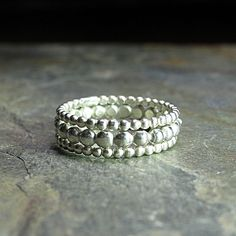 Sterling Silver Stacking Rings  Tiny Bubbles by LavenderCottage on Etsy