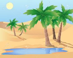 Compra imágenes y fotos : An illustration of a desert oasis with palm trees and a pool under a blue sky Image Camoflauge Wallpaper, Desert Drawing, Blue Sky Images, Palm Tree Drawing, Desert Oasis, Skull Wallpaper, Acrylic Painting Techniques, Tree Illustration, Bible Art