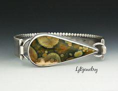 Silver Cuff Bracelet, Rain Forest Jasper, Sterling Silver, Jasper Bracelet, Metalsmith, Handmade Jewelry,