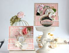 Pretty in Pink - Stair Card Video Tutorial by Elena Olinevich featuring Portrait of a Lady by Graphic Paper Art, Paper Crafts, Graphic 45, Hello Beautiful, Elegant Woman, Vintage Cards, Botanical Gardens, Happy Friday, Pretty In Pink