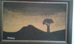 Sunset in Karoo (Nieuwoudtville) , South Afri ca. Oil paint on canvas. Artist is Charl Blignaut (Blikkies). 2014