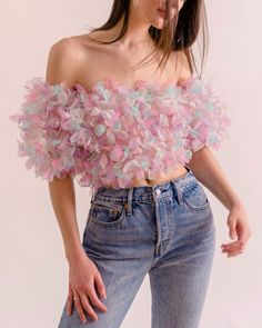 summery floral organza top / gorgeous butterfly kissed organza cropped top / magical clothing by lirika matoshi Teen Fashion Outfits, Fashion Dresses, Womens Fashion, Fashion Top, Party Fashion, Fashion Fall, Fashion Trends, Fashion Ideas, Jugend Mode Outfits