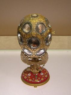 The Romanov Tercentenary Egg is a jewelled Easter egg made under the supervision of the Russian jeweller Peter Carl Fabergé in 1913, for Tsar Nicholas II of Russia. It was presented by Nicolas II as an Easter gift to his wife, the Tsaritsa Alexandra Fyodorovna. It is currently held in the Kremlin Armoury Museum in Moscow.