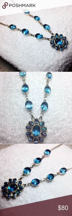 New! London Blue Topaz 40ct+ .925 Link necklace BRAND NEW! 🏅🎉 40 + tcw, GENUINE 17 STONE LONDON BLUE TOPAZ GEMSTONE DELUXE 11 STONE MEDALLlION LINK .925 STERLING SILVER ORNATE HAND CRAFTED ARTISAN NECKLACE- 40+ tcw. fancy faceted carats of genuine Blue Topaz with the perfect combo of skillful silversmithing 🌷✔️🎁 Plus comes with a free new mystery thank you gift! 🎁🎁✔️👀 skilled silversmith -artisan  Jewelry Necklaces