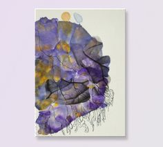 """Original abstract painting ca. 12x16"""" on canvas small painting fine art painting purple small canvas wall art gift for her  home decor"""