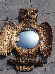 Very rare vintage/retro 1950's/60's owl pattern wall mirror & coat rack hat rack