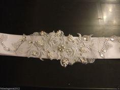 Wedding bridal Sash,Bridal dress belt bridal accessory SILVER lace belt Crystal