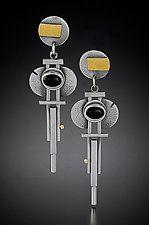 Hanging Art Deco Earrings by Michele LeVett (Gold, Silver & Stone Earrings)