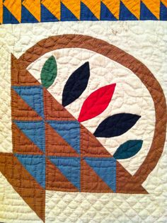 A Quilter by Night: Workt By Hand quilt exhibit at Brooklyn Museum, baskets quilt, c. 1860, detail