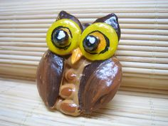 wood, white bean, cantaloupe seed, crystal, and pumpkin seed owl brooch
