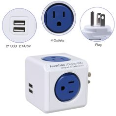 Amazon.com: [New Version] PowerCube 4 Outlets Dual USB Port Surge Protector Wall Adapter Power Strip with Resettable Fuse, Cobalt Blue: Electronics