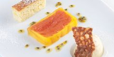 This grapefruit and mango terrine recipe includes some dainty accompaniments. The creamy ricotta cake and warming ginger ice cream help to balance the sharpness of the terrine. Mango Health Benefits, Ginger Ice Cream, Almond Brittle, Mango Cake, Ricotta Cake, Great British Chefs, Mango Recipes, Tasty, Yummy Food
