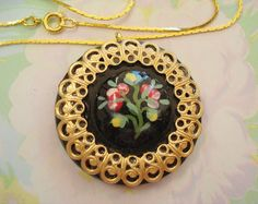 Vintage Handpainted Flower Button with Filigree by joyceshafer, $18.95