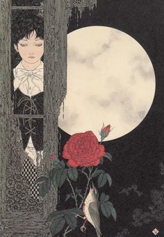 "Takato Yamamoto, Divertimento for a Martyr artbook, ""Nightingale and Rose Blossoms"""