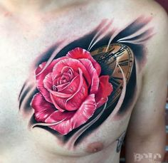 Breathtaking Rose Tattoo on Chest by BOLO Rose Tattoos For Men, Up Tattoos, Tattoos For Women Small, Trendy Tattoos, Forearm Tattoos, Body Art Tattoos, Tattoos For Guys, Cool Tattoos, Letter Tattoos