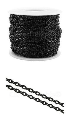 Chains 150069: Cable Chain Spool 100 Feet Dark Black Color 2X3mm Oval Flat Link Bulk Roll -> BUY IT NOW ONLY: $31.94 on eBay!