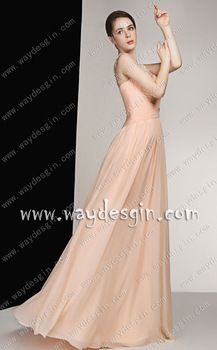 Affordable A-Line Beading Scoop Floor-Length Prom Dress