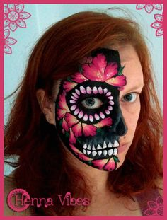 Sugar skull face paint selfie :) by Henna Vibes