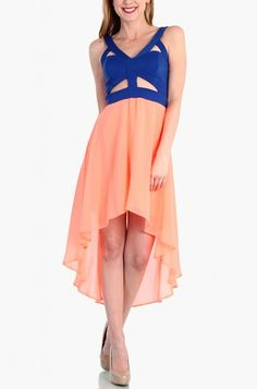 LoveMelrose.com From Harry & Molly | Triangle Cutout Chiffon Dress - Coral Blue