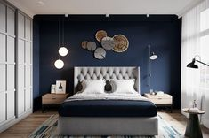 33 Epic Navy Blue Bedroom Design Ideas to Inspire You Navy blue is a highly sophisticated color that would fit a bedroom? Cast a glance over our navy blue bedroom ideas and convince yourself of its epicness! Navy Blue Bedrooms, Blue Bedroom Walls, Master Bedroom, Bedroom Green, Bedroom Wardrobe, Narrow Bedroom, Bedroom 2018, Navy Blue Walls, Bedroom Boys