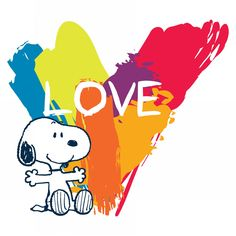 Snoopy sits in front of a large colorful heart with the word love written in it. This Snoopy canvas art would be perfect in a child's bedroom or nursery Snoopy Love, Snoopy E Woodstock, Charlie Brown Snoopy, Peanuts Snoopy, Peanuts Cartoon, Peanuts Characters, Cartoon Characters, Cartoon Pics, Fictional Characters