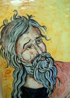 Icona in ceramica dipinta a mano sù pannello in legno.Isaia