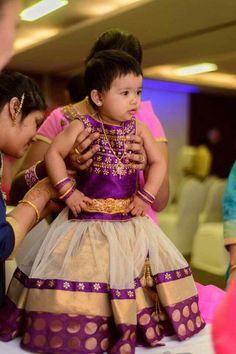 Beige and Purple Kids Lehenga - Indian Dresses Kids Party Wear Dresses, Kids Dress Wear, Kids Gown, Little Girl Dresses, Baby Dresses, Kids Wear, Saris, Kids Lehenga, Baby Lehenga