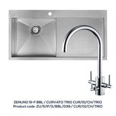 ZENUNO 51-F BBR Single Bowl Sink with Drainer with CURVATO TRIO Chrome Filter Tap
