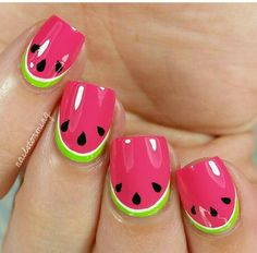 Do you love doing nail art? Are you looking for nail art summer ideas? This post is just what you need! Check out our collection of 'Watermelon Nail Art Designs for Summer below and tell us what you think Cute Summer Nail Designs, Cute Summer Nails, Cool Nail Designs, Nail Designs For Kids, Fruit Nail Designs, Nail Summer, Beach Nail Designs, Awesome Designs, Cute Nail Art