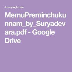MemuPreminchukunnam_by_Suryadevara.pdf - Google Drive Free Novels, Main Menu, Google Drive, Pdf, Telugu, Books, Livros, Book, Livres