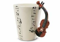Ceramics 1 project- I LOVE this one. Maybe instead of the violin, a cello? I Love Coffee, My Coffee, Coffee Mugs, Coffee Break, Mundo Musical, Instruments, Cup Design, Music Notes, Classical Music