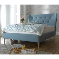 The Jackson is a fun bed that is upholstered in duck egg blue that would add character to any room, the curved button headboard makes a lovely feature. Double