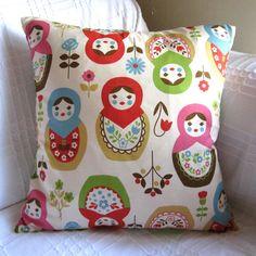 Russian Dolls Matryoshka Babushka Print Pillow / Cushion Cover. £9.99, via Etsy. Accent for M's room.