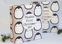 Babys first Christmas photo album, penguins, baby gift photo album, personalised photo album, baby keepsake