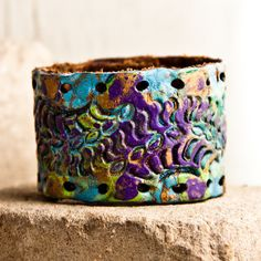 Boho Jewelry Vintage Tooled Leather Cuff -- Kim R!! This one is for you!! purple...by the sea....green (for growth!)