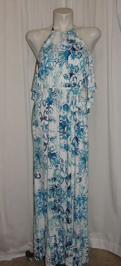 New Soma Chicos Sz Large Blue Tiered Halter Maxi Dress Interlace Scroll White #Soma #SundressMaxi #SummerBeach