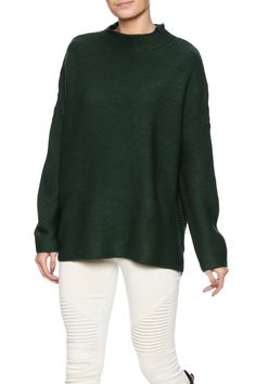 Dark green long sleeve sweater with a mock neck and dropped shoulders.   Scott Sweater by Knot Sisters. Clothing - Sweaters - Turtleneck New Jersey