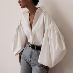 White Casual Puff Sleeve Button Up Shirt - Moda Mode Outfits, Casual Outfits, Casual Shirts, Casual Clothes, Winter Outfits, Denim Outfits, Style Clothes, Spring Outfits, Denim Shorts