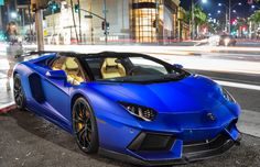 Electric blue Lamborghini Aventador Roadster #CarFlash