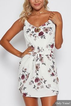 White Sexy Random Floral Print Camis Dress with Middle Waist