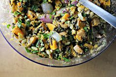 Roasted Pumpkin, Wild Rice and White Bean Salad with a Ginger Sunflower Seed Dressing