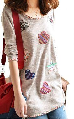 Fashionable Scoop Neck Print Loose-Fitting Long Sleeve Women's T-ShirtVintage T-shirts | RoseGal.com