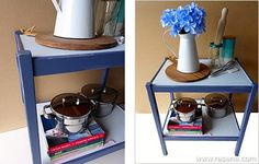 Update a retro butler's table with a simple and classic makeover. Step by step instructions on how to paint the table. Butler Table, Project Steps, Community Activities, Table Frame, Paint Cans, Project Yourself, Masking Tape, Step By Step Instructions, Fun Projects