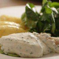 Simon Hopkinson Cooks - Poached Salmon with Cucumber, Chives and Cream
