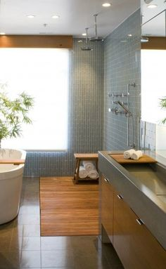 Bathroom, small vertical subway tile, glass tile