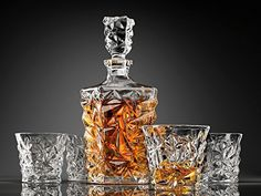 Amazon.com | 5-Piece Diamond Cut Whiskey Decanter Set. 4 Glasses and Scotch Decanter with Stopper - Unique Elegant Dishwasher Safe Glass Liquor Bourbon Decanter Ultra-Clarity Glassware by Ashcroft: Decanters