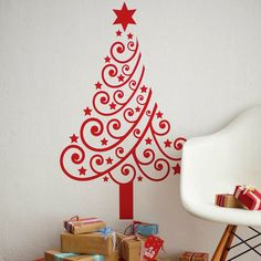jolie-wall-sticker-tree-for-your-wall-in-red-to-make-a-contrast-with-the-wall-white / jolie-sticker-mural-sapin-pour-votre-mur-en-rouge-pour-faire-un-contraste-avec-le-mur-blanc