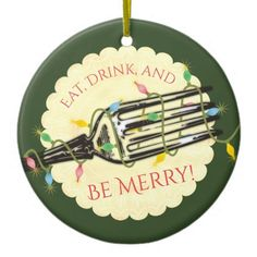 Eat drink be merry fork Christmas ornament - merry christmas diy xmas present gift idea family holidays